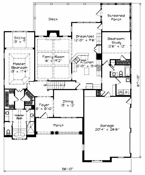 Action Builders Inc.   Southern Living Floorplan   Barrington Hills   Floor  1
